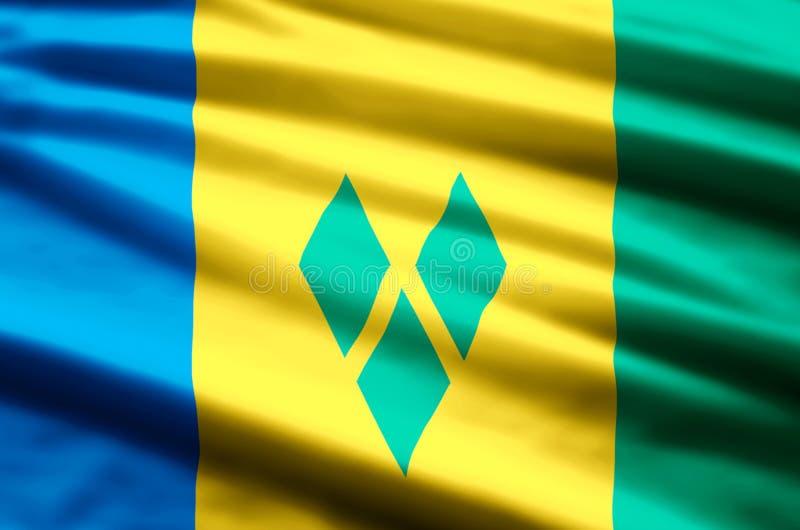 Saint Vincent och Grenadinerna flaggaillustration stock illustrationer