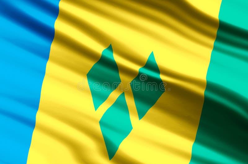 Saint Vincent och Grenadinerna flaggaillustration vektor illustrationer