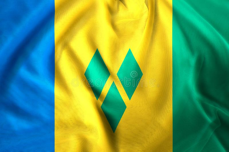 Saint Vincent och Grenadinerna flaggaillustration royaltyfri illustrationer