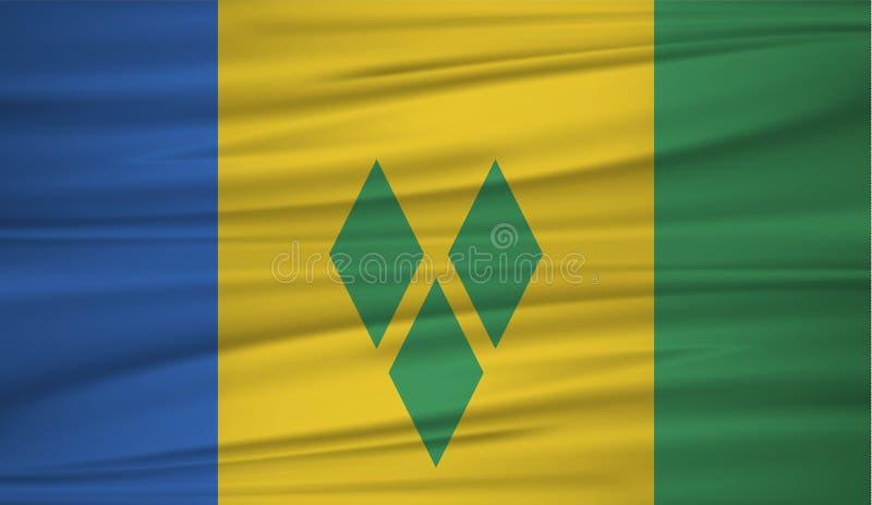 Saint Vincent och Grenadinerna flaggavektor Vektorflagga av Saint Vincent och Grenadinerna blowig i vinden vektor illustrationer