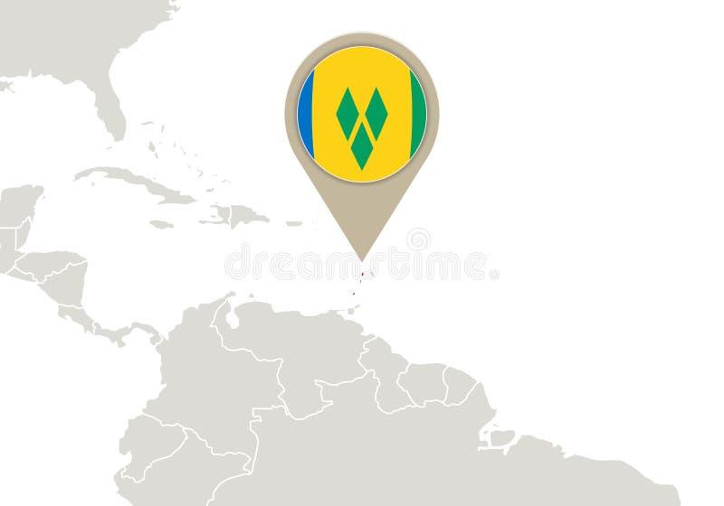 Saint Vincent och Grenadinerna på världskarta stock illustrationer