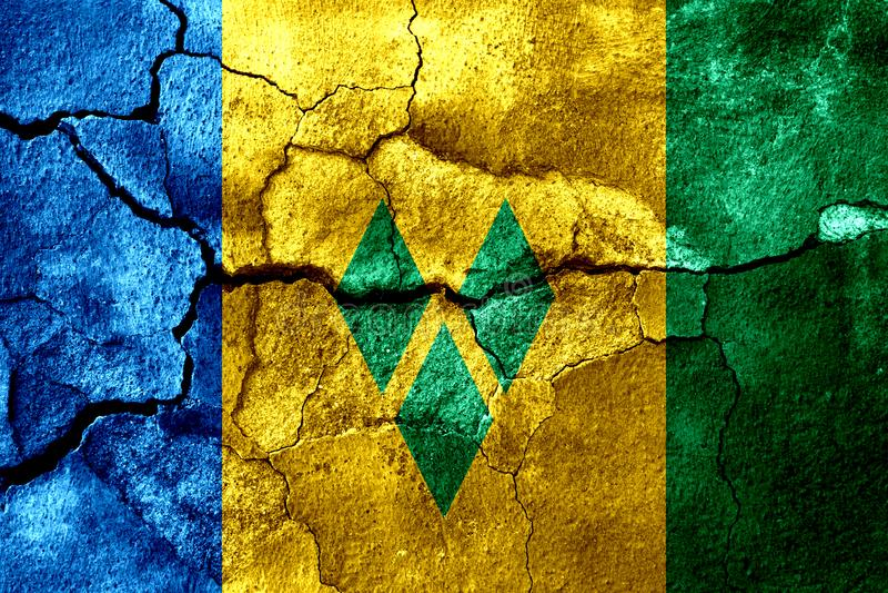 Saint Vincent och Grenadinerna rostade texturflaggan, rostig bakgrund vektor illustrationer
