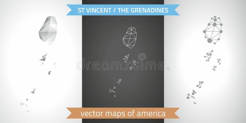 Saint Vincent och Grenadinerna uppsättning av polygonal översikter för grå färg- och silvermosaik 3d Grafisk skugga för översikt  vektor illustrationer