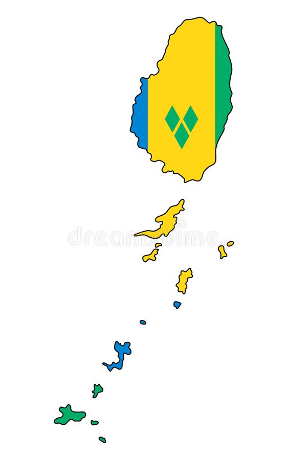 Saint Vincent`s & Grenadines .Map of Saint Vincent`s & Grenadine stock illustration