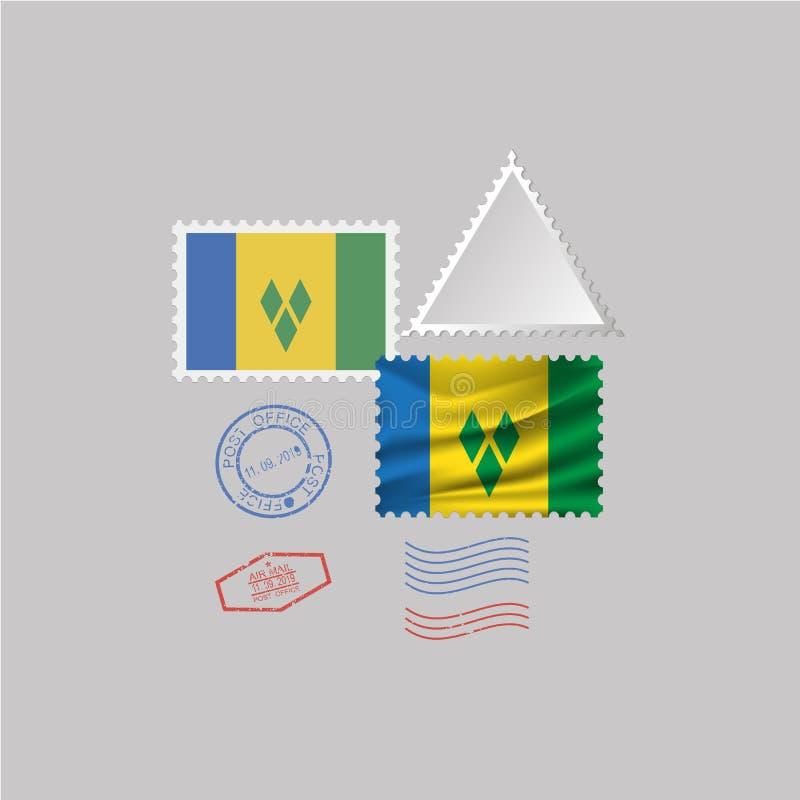 SAINT VINSENT ET l'ensemble de timbre-poste de drapeau de GRENADINES, d'isolement sur le fond gris illustration libre de droits