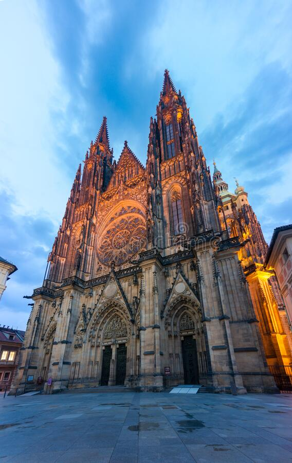 Saint Vitus cathedral illuminated at night. Prague landmark. Saint Vitus gothic cathedral illuminated at night. Historic Prague landmark stock images