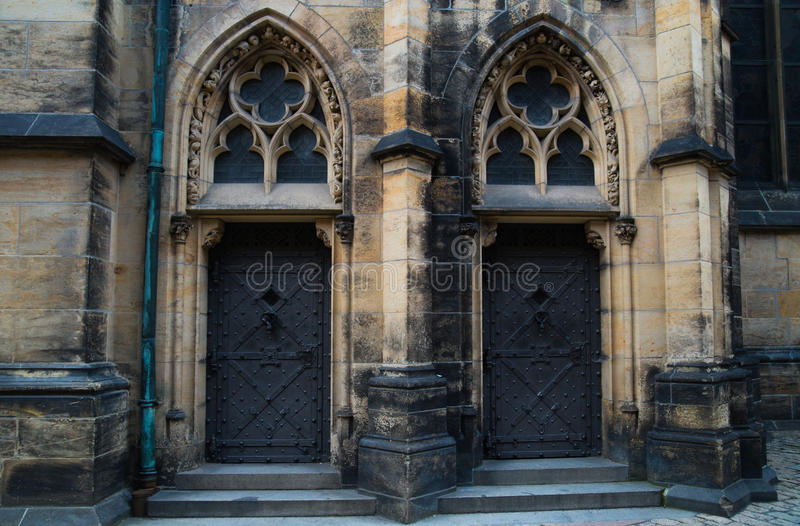 Saint Vitus Cathedral in Prague, Czech Republic. Fragment of the southern portal stock photography