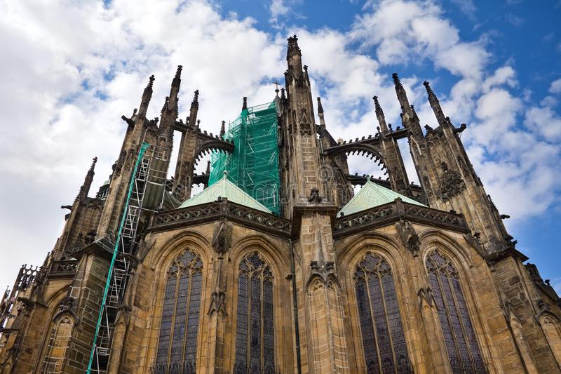 The Saint Vitus cathedral in Prague, Czech Republic. The Roman Catholic cathedral of Saint Vitus Chram svateho Vita in Prague Castle while reconstruction, Prague royalty free stock photography