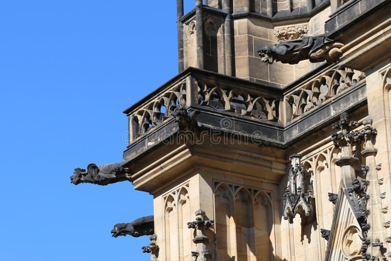 Saint vitus cathedral in Prague Europe. And many gargoyles stock photo