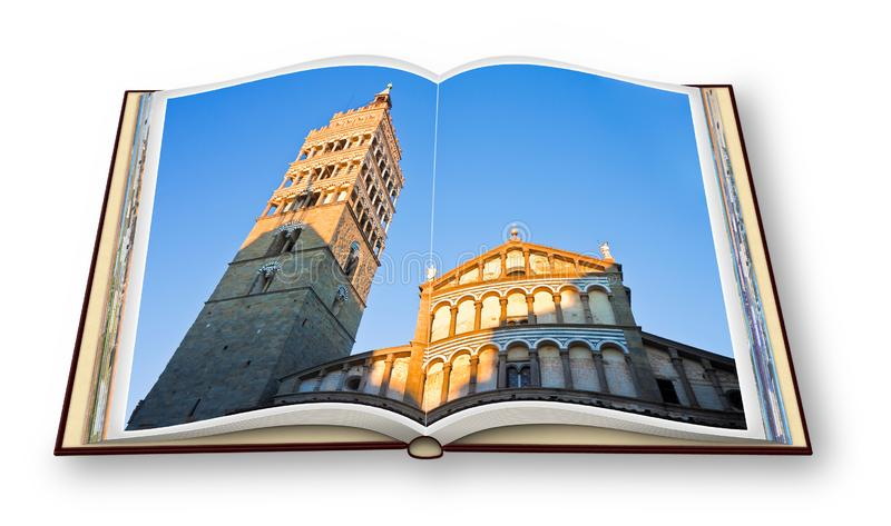 Saint Zeno cathedral church in Pistoia city  at sunset Tuscany - Italy - 3D render of an opened photo book isolated on white. Background - I`m the copyright royalty free stock photography