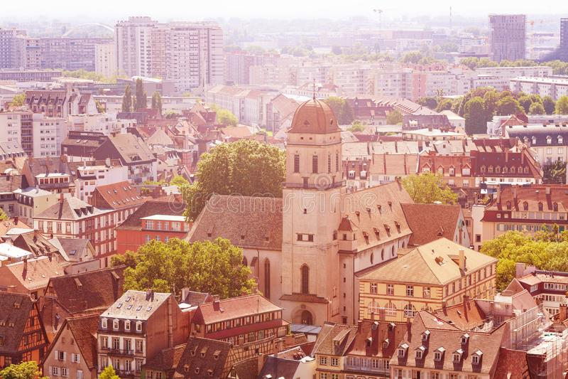 Sainte马德琳教会在史特拉斯堡街市法国 库存图片