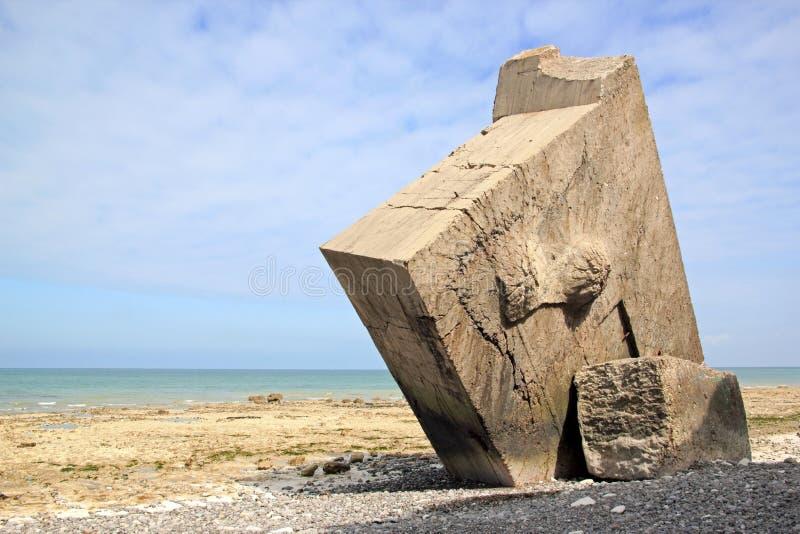 Sainte延命菊苏尔梅尔白鹅de索姆省,法国被扭转的地堡  图库摄影