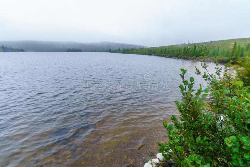 Sainte-Anne du Nord lake, in Grands-Jardins National Park, Quebec. View of the Sainte-Anne du Nord lake, in Grands-Jardins National Park, Quebec, Canada stock photos