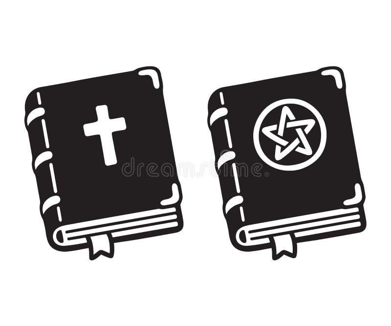Sainte Bible et livre magique foncé illustration stock