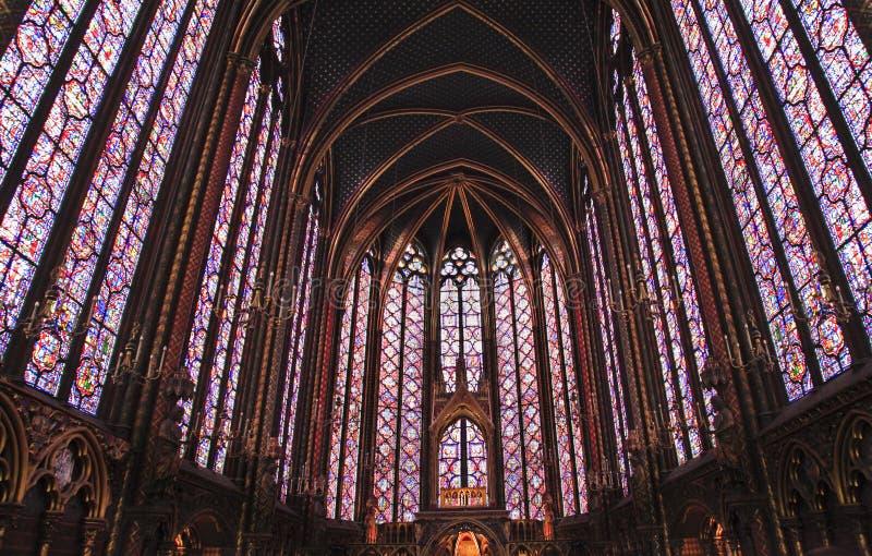 Sainte-Chapelle污点玻璃窗口,巴黎,法国 免版税图库摄影