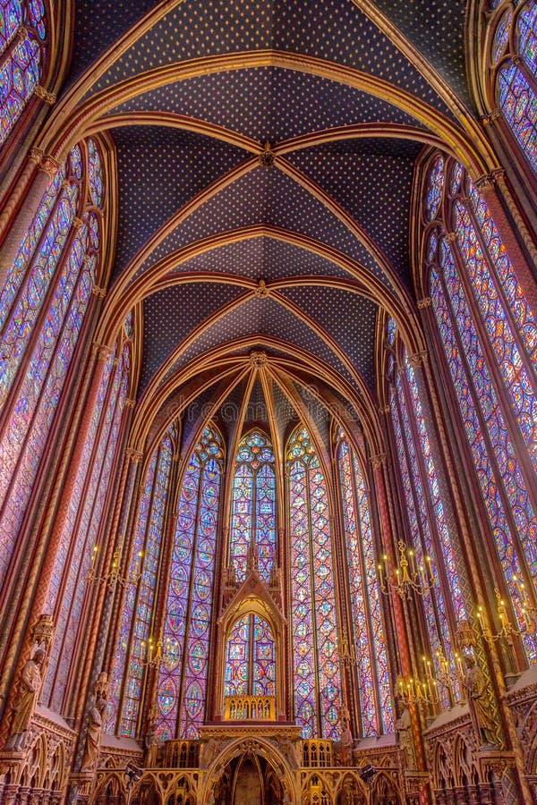 Sainte Chapelle,有污迹玻璃窗的巴黎 免版税库存图片