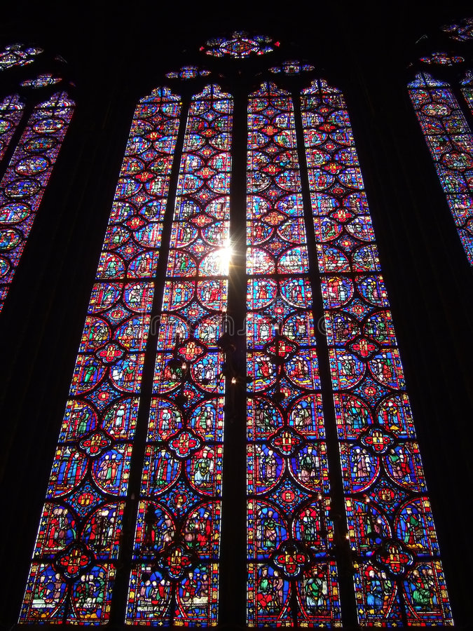 Sainte-Chapelle Buntglas lizenzfreie stockfotografie