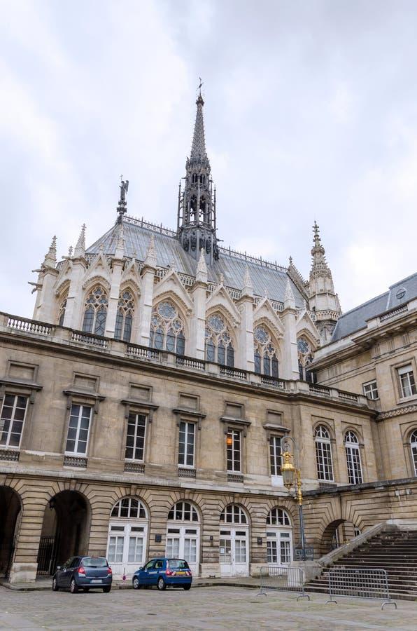 Sainte-Chapelle (de Heilige Kapel) op het Cite eiland in Parijs stock afbeelding