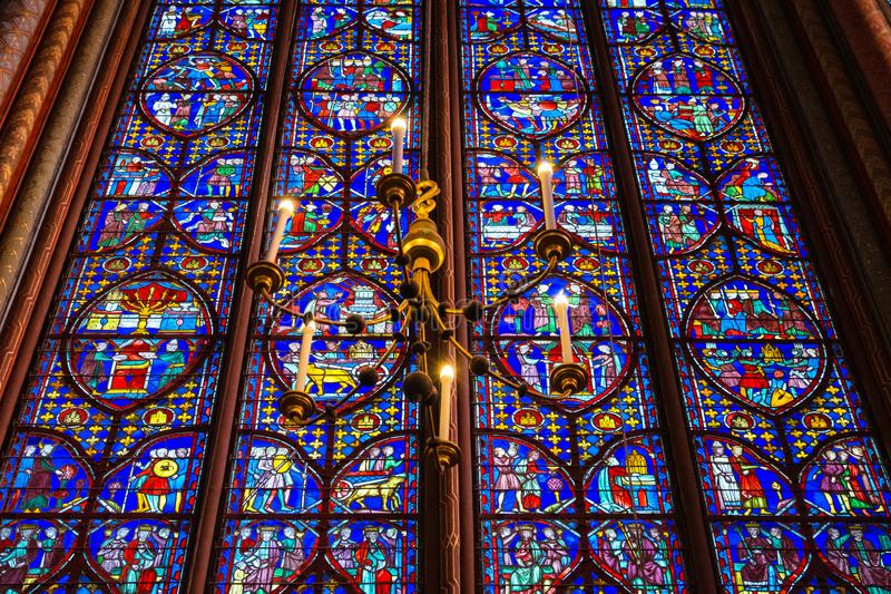 Sainte Chapelle Stained Glass royalty-vrije stock afbeelding
