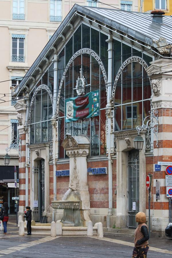 Sainte Clair Halles in french Grenoble city stock photo