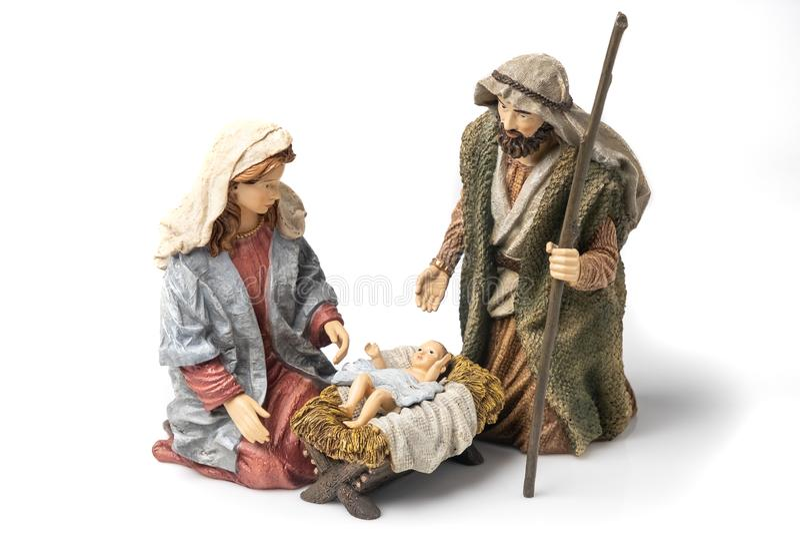 Sainte Famille : Vierge Marie, Saint Joseph et figurines en céramique Baby Jesus image stock