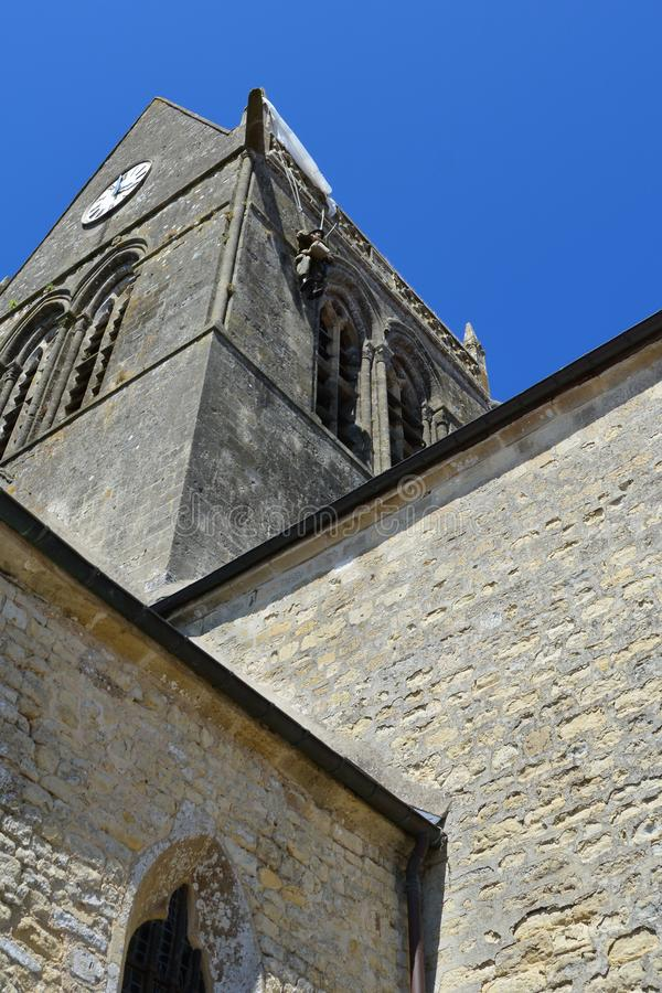 Sainte-Mère-É glise war das erste Dorf in Normandie befreite durch die Armee Vereinigter Staaten auf Invasionstag, am 6. Juni 1 lizenzfreies stockbild