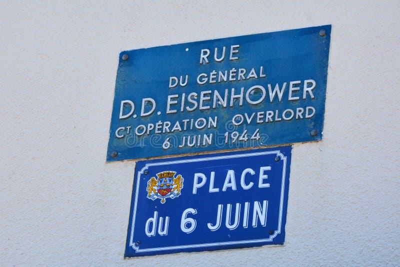 Sainte-Mère-à ‰ glise był pierwszy wioską w Normandy wyzwalał Stany Zjednoczone wojskiem na ważnym dniu, Czerwiec 6, 1944 fotografia stock