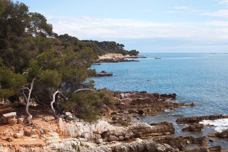 Sainte-Margurite海岛在戛纳,法国。 库存图片