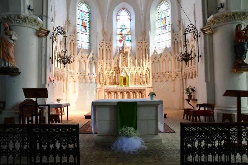 Sainte Maria De Ponowny Francja, Wrzesień, - 25 2016: Notre Damae chur zdjęcia royalty free