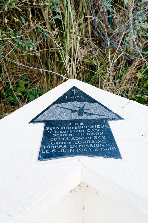 Sainte-Marie-du-Mont aviateurs Groupe Lorrain för Utah strandplatta arkivbild