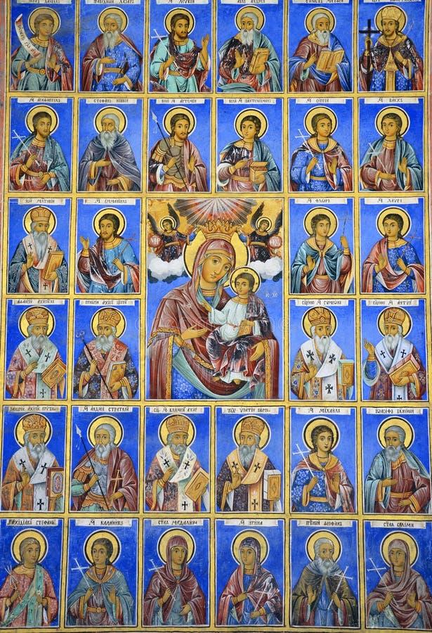 Saints. Around Mary and child royalty free stock photos