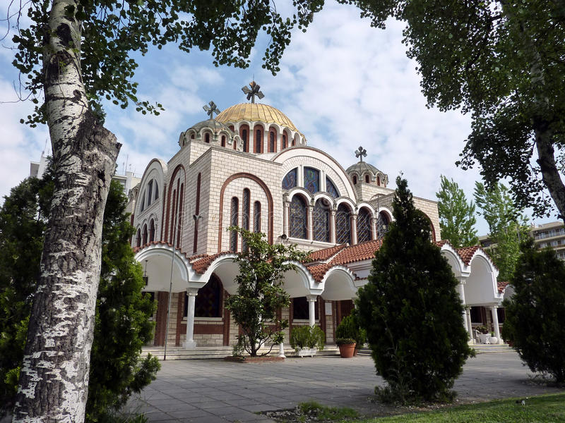 Saints Cyril and Methodius in Thessaloniki, Greece stock images