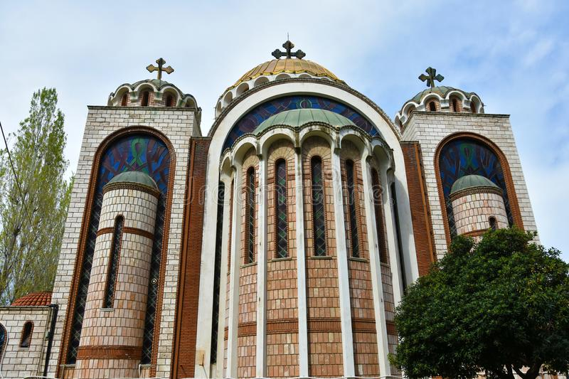 Saints Cyril and Methodius in Thessaloniki, Greece. Orthodox church of Saints Cyril and Methodius near the beach of Thessaloniki stock images