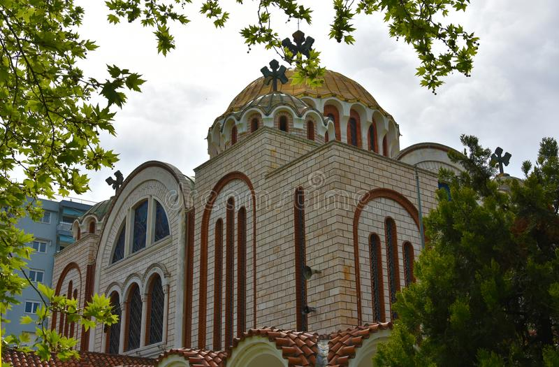 Saints Cyril and Methodius in Thessaloniki, Greece. Orthodox church of Saints Cyril and Methodius near the beach of Thessaloniki stock image
