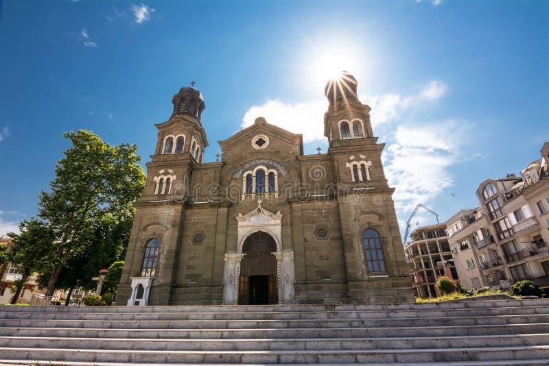 Saints Cyril och Methodius Orthodox Church Burgas Bulgarien fotografering för bildbyråer