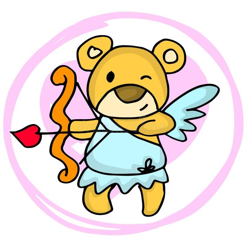 Saints Valentin de bande dessinée d'ours de cupidon illustration stock