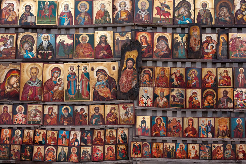 Saints. A wall covered by icons of saints stock photography