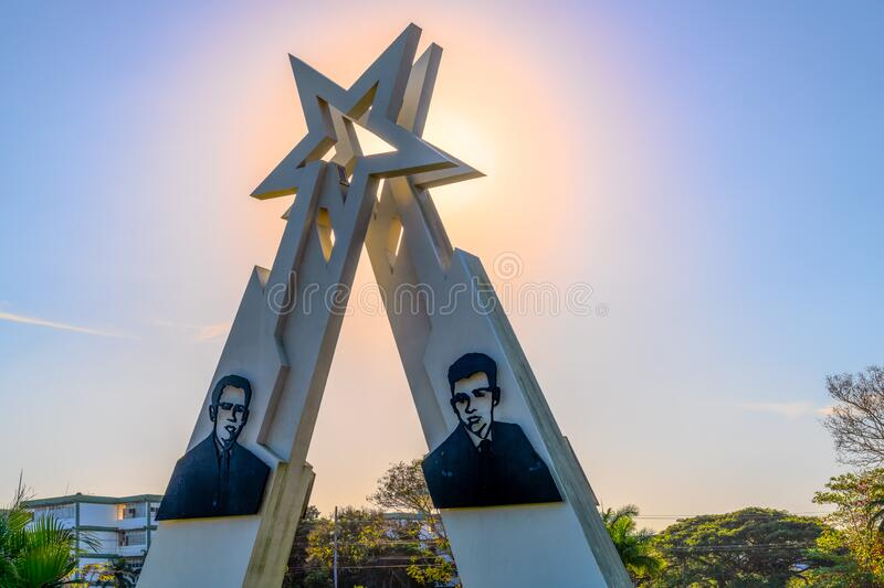 Sainz Brothers Monument, Pinar del Rio, Cuba. Pinar del Rio, Cuba-February 9, 2020: Monument to the Sainz Brothers which is a famous place and a tourist royalty free stock photos
