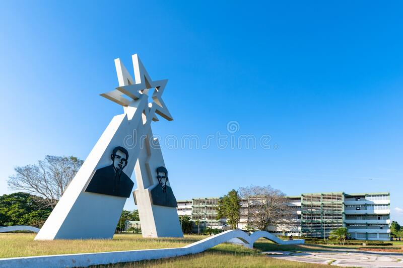 Sainz Brothers Monument, Pinar del Rio, Cuba. Pinar del Rio, Cuba-February 9, 2020: Monument to the Sainz Brothers which is a famous place and a tourist royalty free stock images