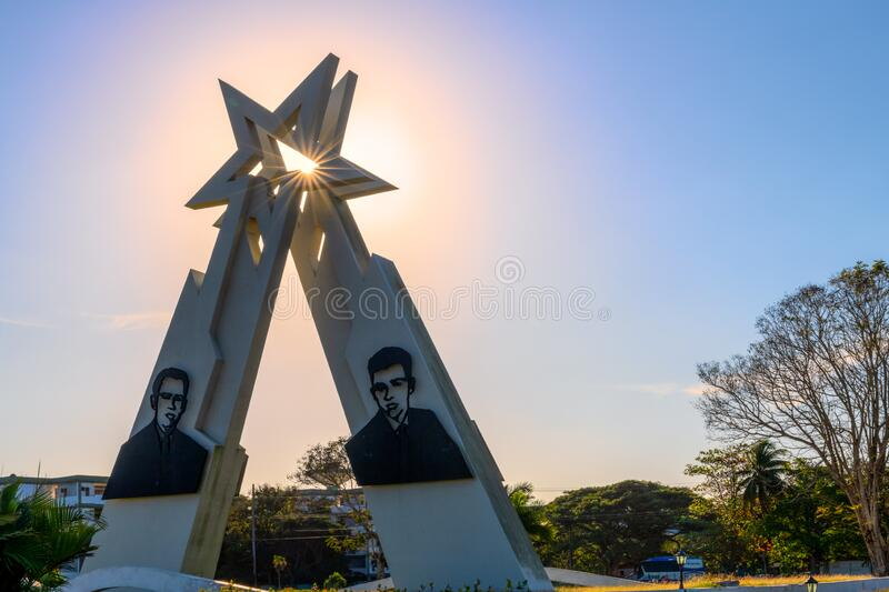 Sainz Brothers Monument, Pinar del Rio, Cuba. Pinar del Rio, Cuba-February 9, 2020: Monument to the Sainz Brothers which is a famous place and a tourist stock photos