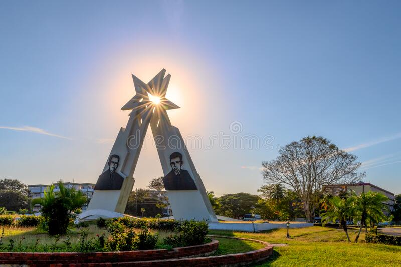 Sainz Brothers Monument, Pinar del Rio, Cuba. Pinar del Rio, Cuba-February 9, 2020: Monument to the Sainz Brothers which is a famous place and a tourist stock images