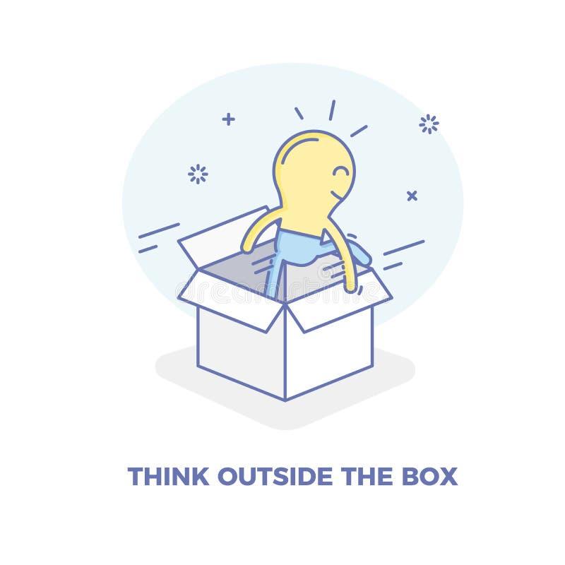 Sair do caráter da ampola da caixa Vector a ilustração do conceito para pensar fora dos conceitos da caixa ilustração stock