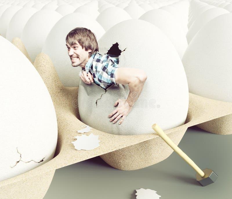 Sair do homem dos ovos ilustração stock