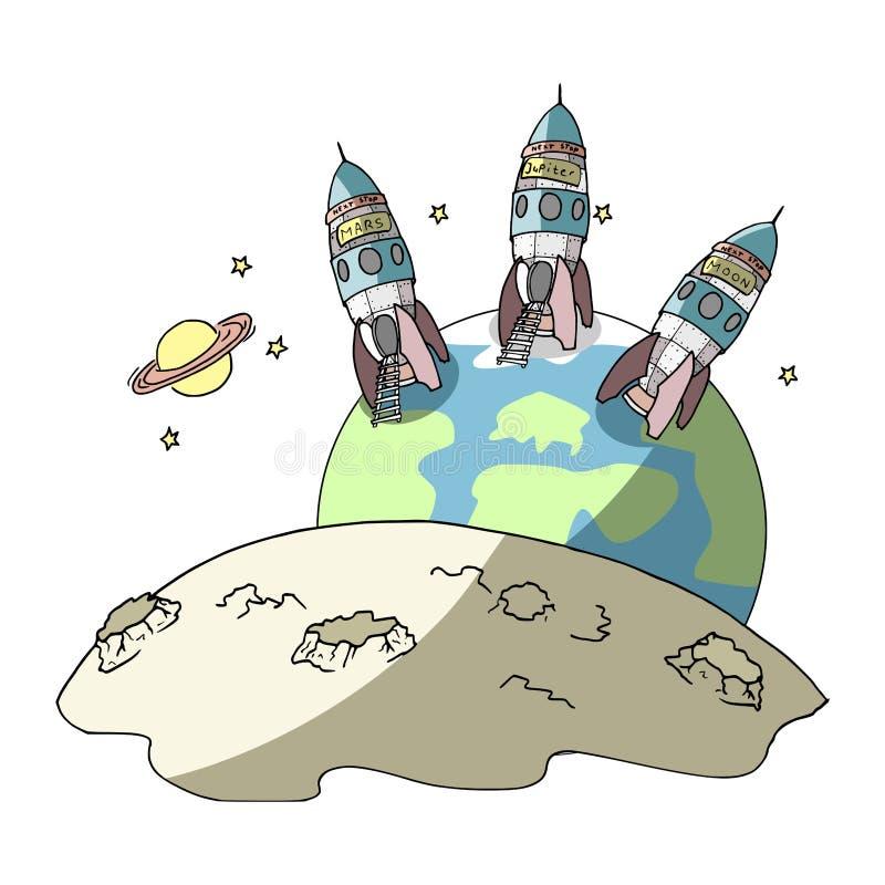 Sair a outros planetas ilustração royalty free