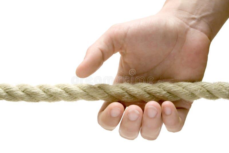 Saisie d'une corde photo stock