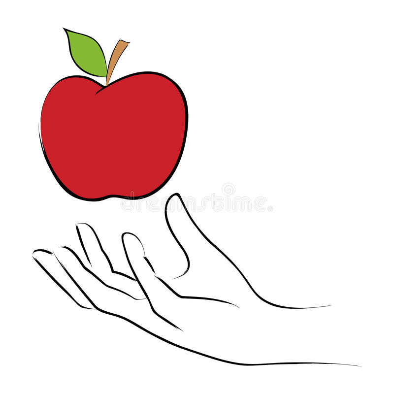 Saisie d'une pomme illustration libre de droits