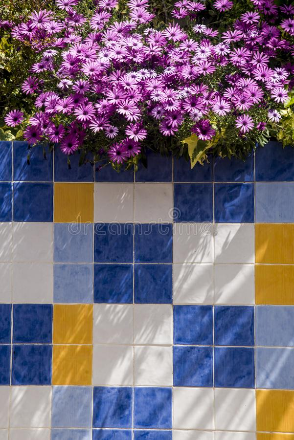 Saisies au jardin et aux tuiles décoratives dehors image libre de droits