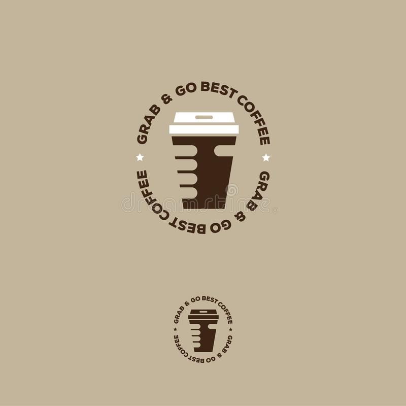 Saisissez et allez le le meilleur logo de café Emblème de tasse et de main de café sur un fond beige illustration libre de droits