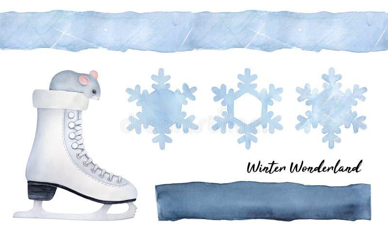 Saison'lassen Sie es Schnee'Sammlung mit weniger grauer Maus im Schlittschuh, Schneeflocken, nahtlose Grenze, dunkelblaue Form me lizenzfreie abbildung