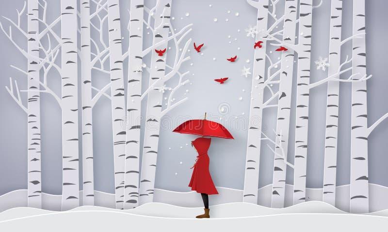 Saison avec le rouge ouvert de fille un parapluie illustration stock